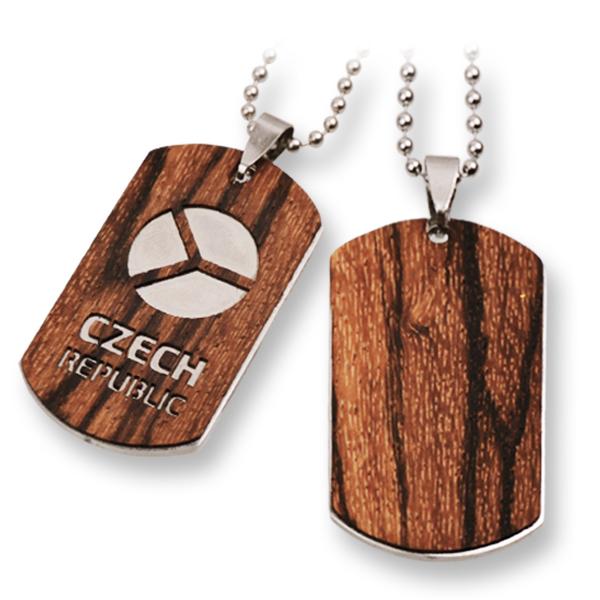 Vojenské známky ocel dřevo woodlux